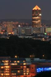 Vue de nuit de la Cité internationale, la Part-Dieu en arrière plan