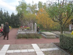 [Parc-cimetière du Grand-Lyon à Bron : une allée le jour de Toussaint]