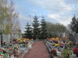 [Parc-cimetière du Grand-Lyon à Bron : une allée de tombes fleuries]