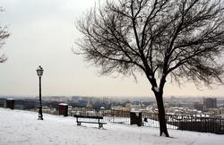 Place Bellevue sous la neige