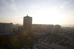 [Vue du 3e arrondissement au soleil couchant]