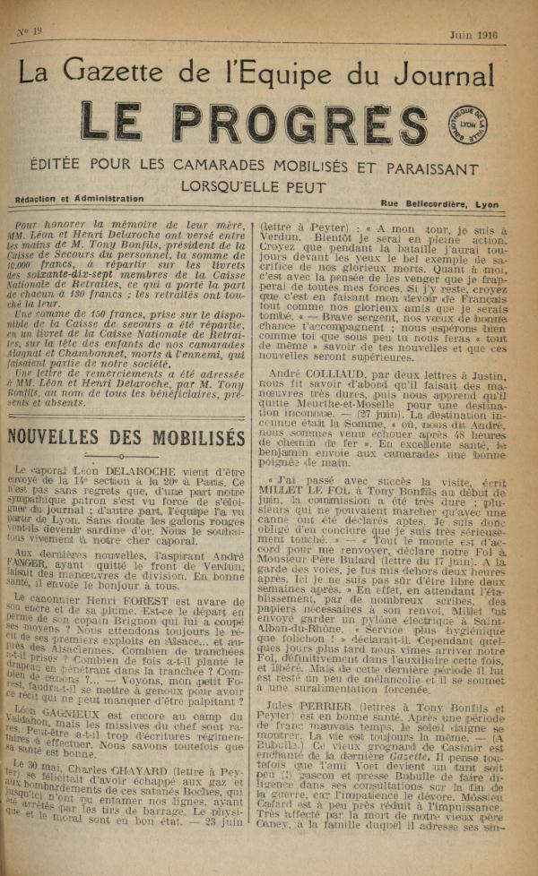 La Gazette de l'équipe du journal Le Progrès