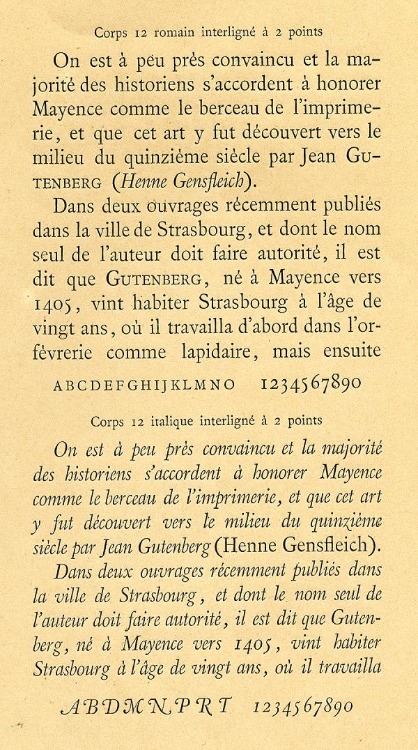 Caractères anciens. Exemple  n° 1
