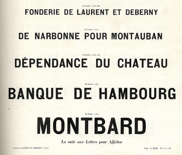 Caractères d'affiches Laurent & Deberny. Exemple  n° 2