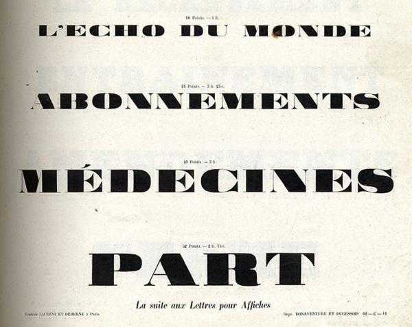 Caractères d'affiches Laurent & Deberny. Exemple  n° 3