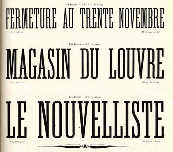 Caractères d'affiches Laurent & Deberny. Exemple  n° 4