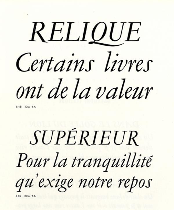 Garamond Peignot. Exemple  n° 6