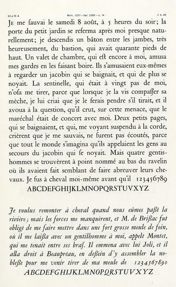 Garamond Peignot. Exemple  n° 7
