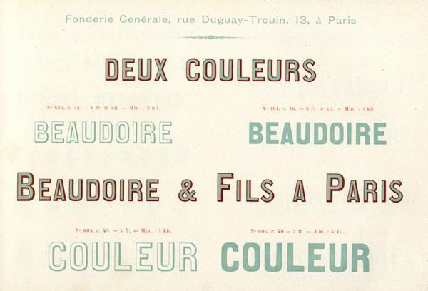 Lettres en deux couleurs. Exemple  n° 1