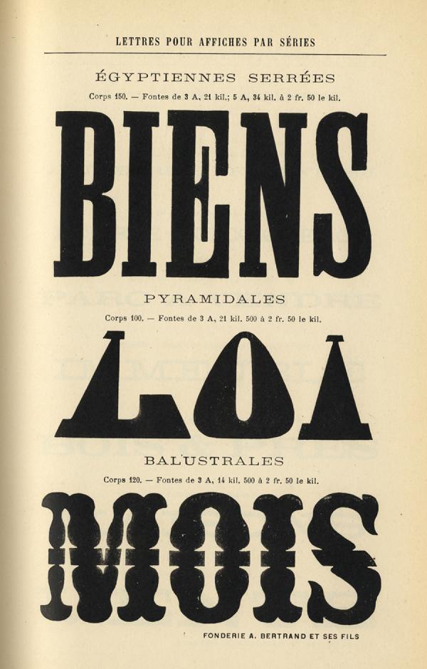 Caractères d'affiches Bertrand. Exemple  n° 1
