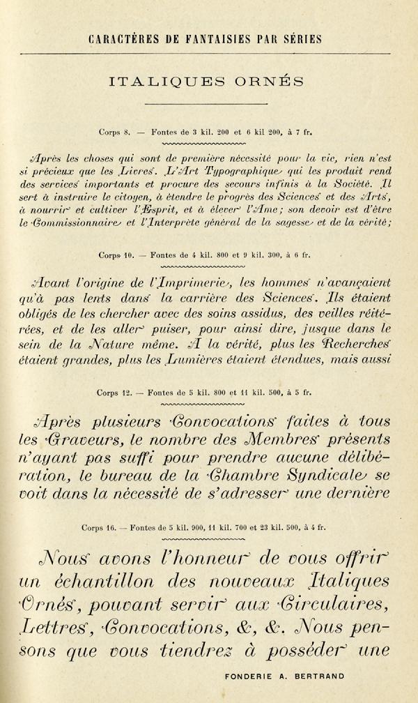 Italiques Ornés. Exemple  n° 1