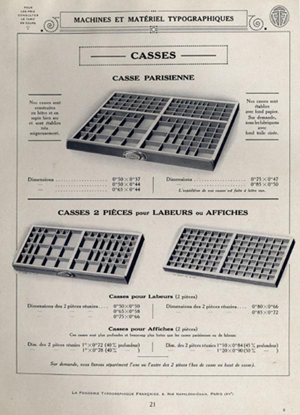 Matériel typographique. Exemple  n° 1