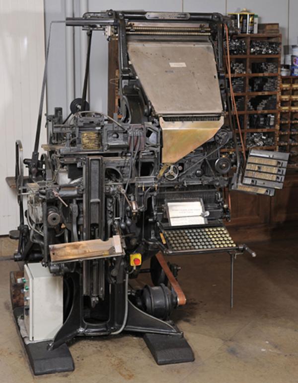 Machine Linotype. Exemple  n° 1