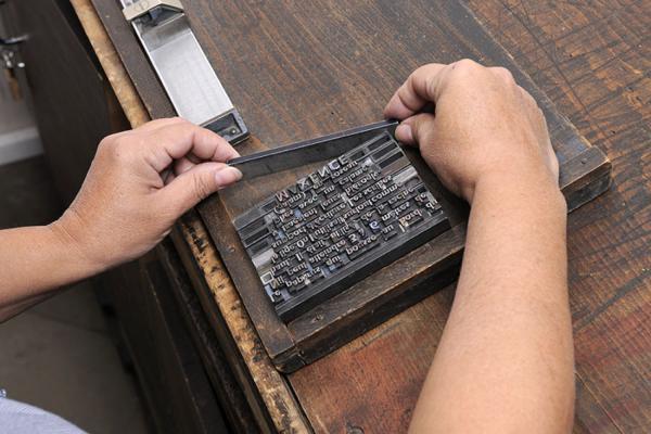 Gestes du typographe. Exemple  2. Mise en galée