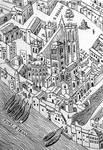 Plan scénographique de la Ville de Lyon au 16e siècle (facsimile, détail)