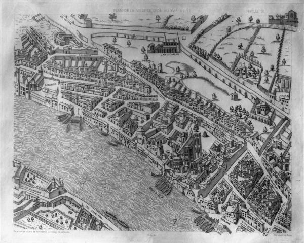 [Plan scénographique de la ville de Lyon au XVIe siècle (Pl. IX)]
