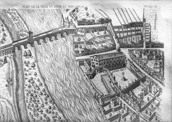 [Plan scénographique de la ville de Lyon au XVIe siècle (Pl. III)]