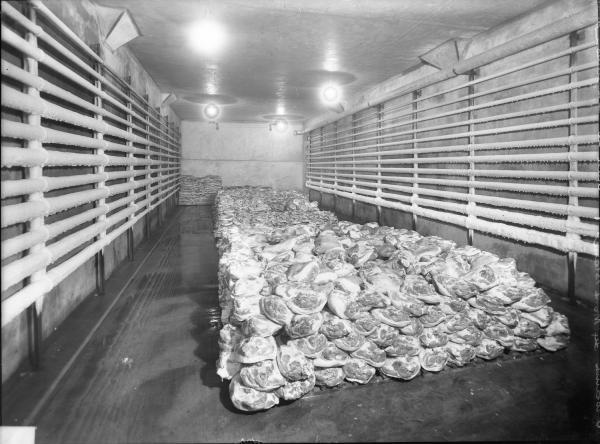 """[""""Entrepôts frigorifiques Lyonnais"""" : produits du Mont-Blanc dans une salle de congélation]"""