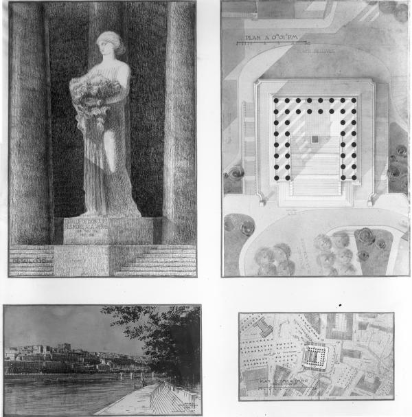 [Grands travaux de la Ville de Lyon. Projet de monument aux morts pour la Croix-Rousse : plan, vue générale et décoration]