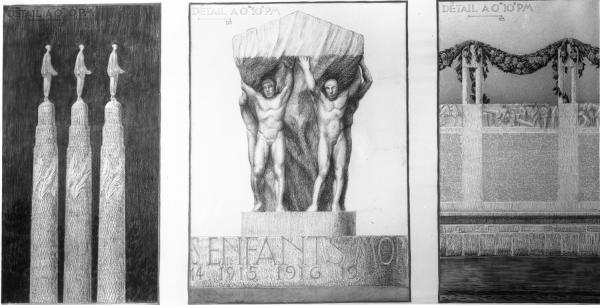 [Monument aux morts de la ville de Lyon, sur l'Ile aux Cygnes au Parc de la Tête-d'Or : projet dit aux six colonnes (détail) et dessin du cénotaphe conçu par Jean Larrivé]