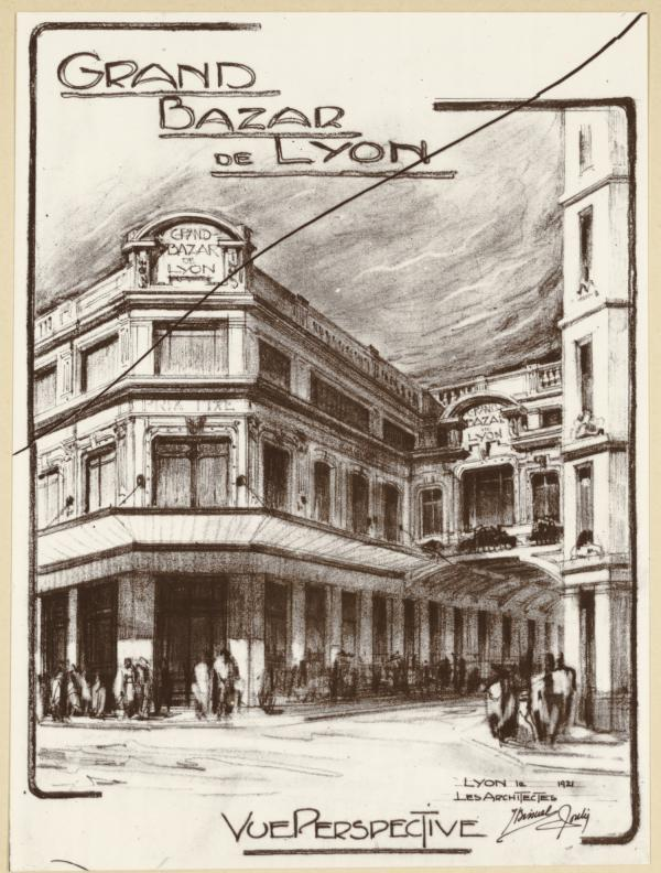 [Le Grand bazar de Lyon : projet d'agrandissement, avec extension vers l'immeuble voisin]