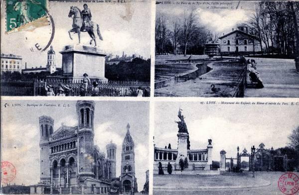 Lyon : Place Bellecour et statue de Louis XIV ; Lyon - Le Parc de la Tête d'Or, l'allée principale et l'Observatoire ; Lyon - Basilique de Fourvière ; Lyon - Monument des Enfants du Rhône et entrée du parc.
