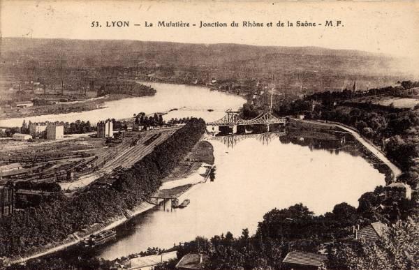Lyon : La Mulatière ; jonction du Rhône et de la Saône