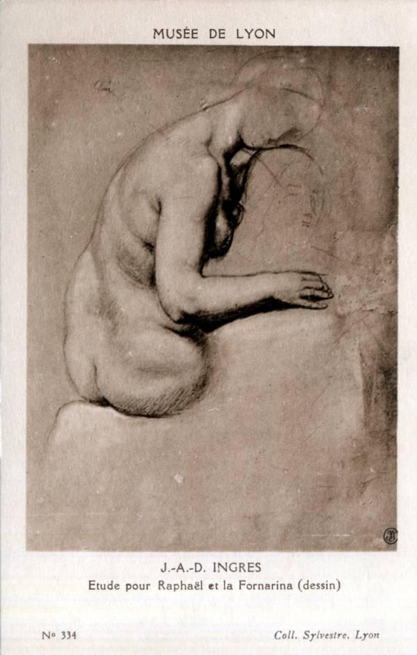 Musée de Lyon : J. A. D. Ingres, Étude pour Raphaël et la Fornarina (dessin).