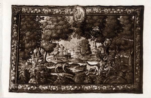 Musée Historique des Hospices civils de Lyon : Collection de Tapisseries - Verdure Aubusson (XVIIe siècle) : aux armes de l'Hôtel-Dieu.