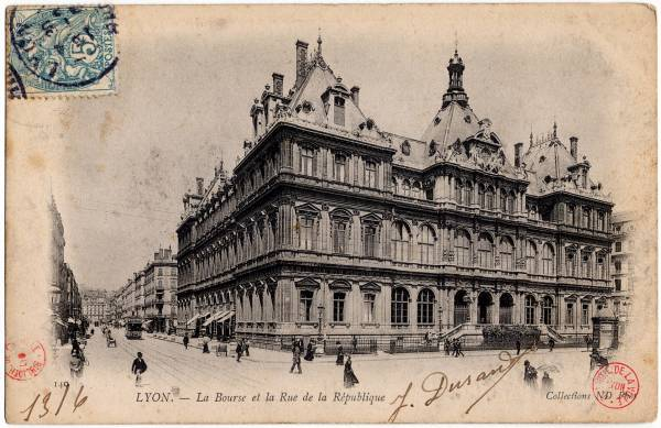 Lyon : La Bourse et la rue de la République