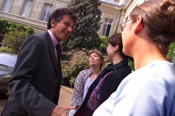 [Le ministre de l'Education nationale Jack Lang en visite à l'IUFM de Lyon]