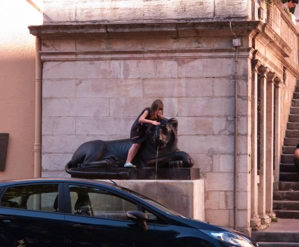 Une petite fille lavant un des deux lions de la Place Sathonay