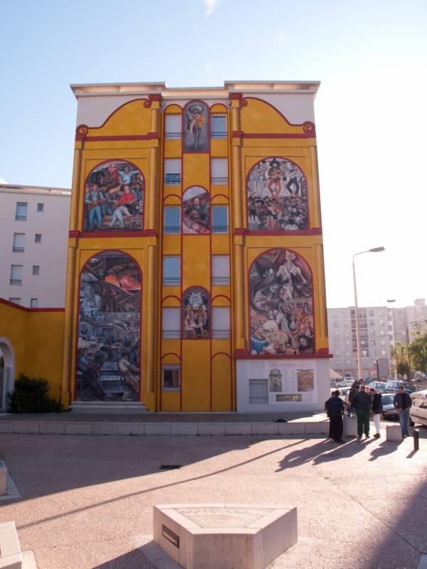 Espace Diego Rivera : façade contemporaine, 23 rue Georges-Gouy, Lyon 7e