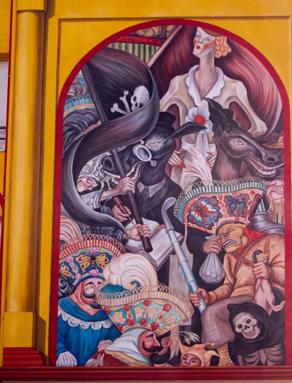 Espace Diego Rivera : façade contemporaine, carnaval