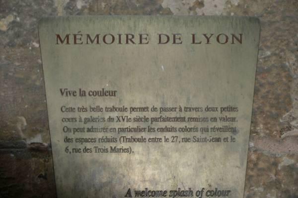 """Plaque """"Mémoire de Lyon"""""""