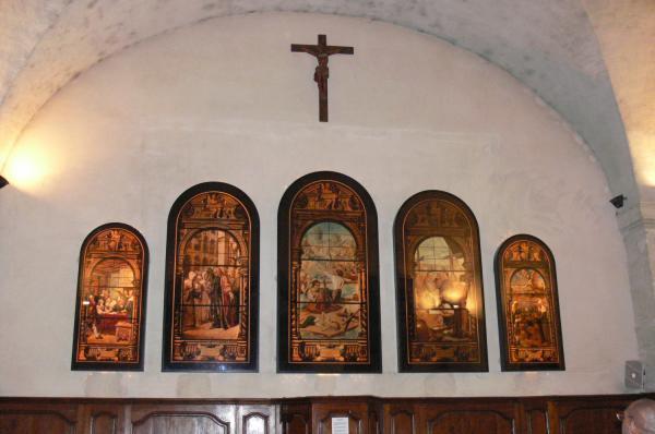 Reproductions des vitraux de l'Hôpital de la Charité.