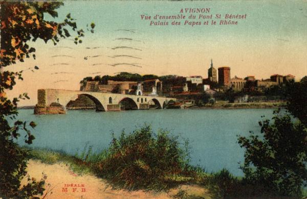 Avignon - Vue d'ensemble du Pont Saint-Bénézet, Palais des Papes et le Rhône.
