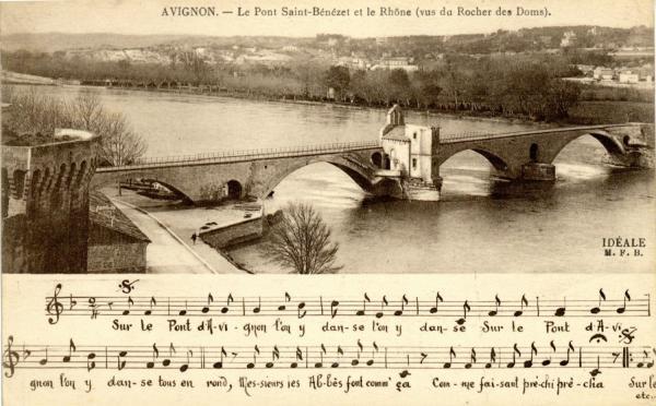 Avignon - Le Pont St-Bénézet et le Rhône (vus du Rocher des Doms).