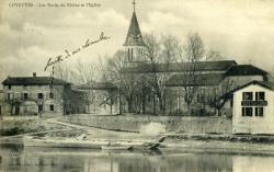 Loyettes - Les bords du Rhône et l'église.