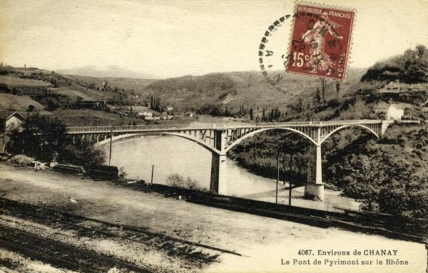 Environs de Chanay - Le Pont de Pyrimont sur le Rhône.