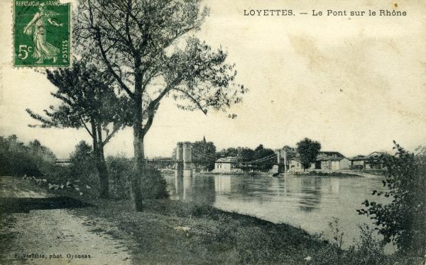 Loyettes (Ain). - Le Pont sur le Rhône.