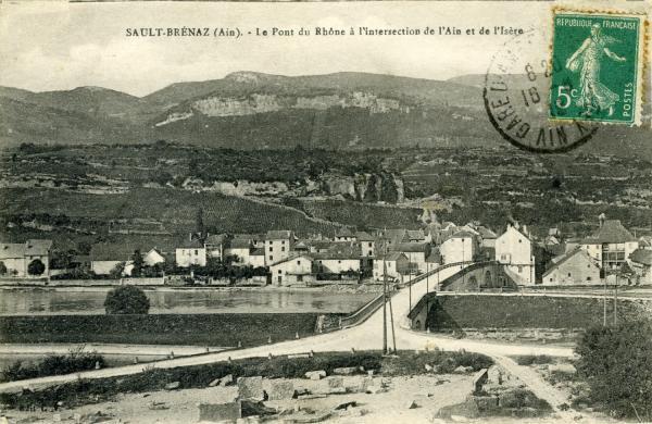 Sault-Brénaz (Ain). - Le pont du Rhône à l'intersection de l'Ain et de l'Isère.