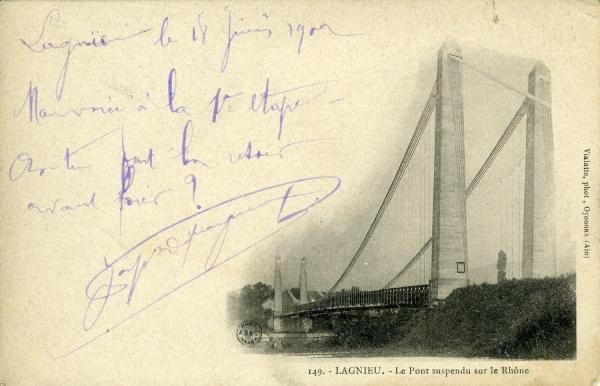 Lagnieu. - Le Pont suspendu sur le Rhône.