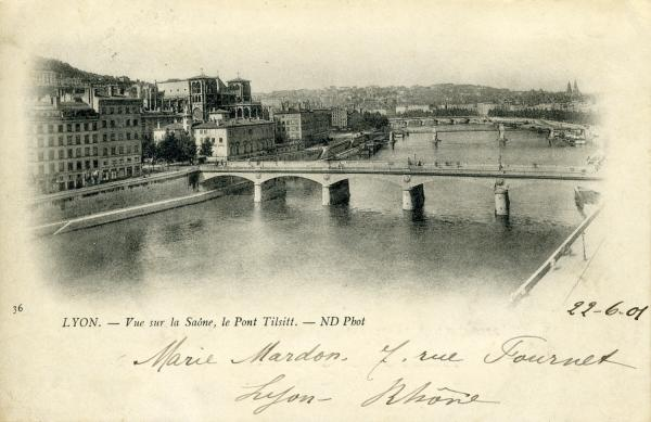 Lyon. - Vue sur la Saône, le Pont Tilsitt.