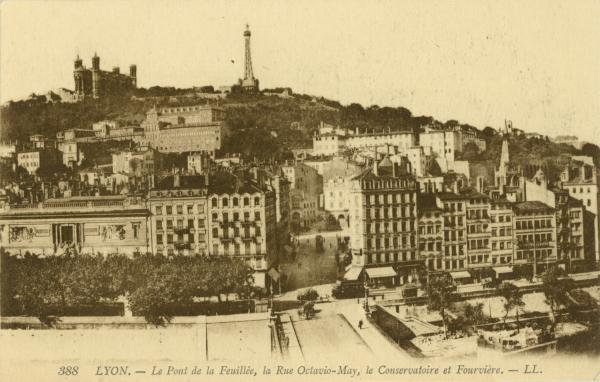Lyon : Le Pont de la Feuillée ; la Rue Octavio-May ; le Conservatoire de Fourvière.