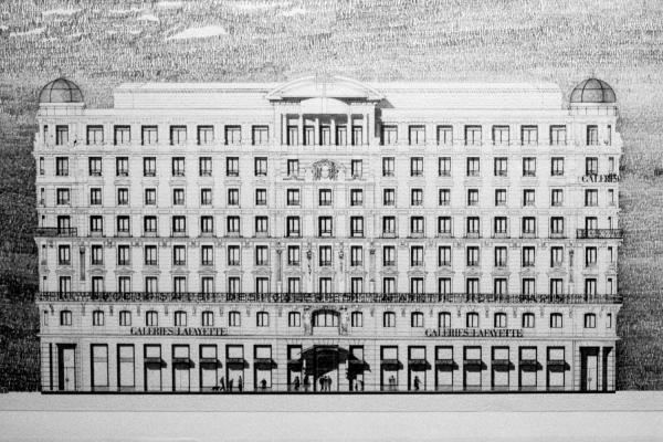 [Lyon 2010. Dessin de l'immeuble des Galeries Lafayette (Ch. Delfante, architecte)]