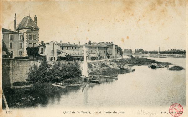Albigny-sur-Saône (Rhône) : quai de Villevert, vue à droite du pont