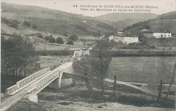 Environs de Sain-Bel-les-Mines (Rhône) : Pont du Martinet et route de Chevinay