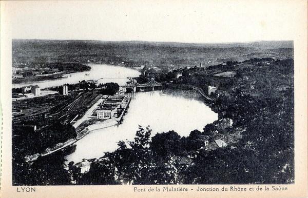 Lyon : Pont de la Mulatière ; Jonction du Rhône et de la Saône