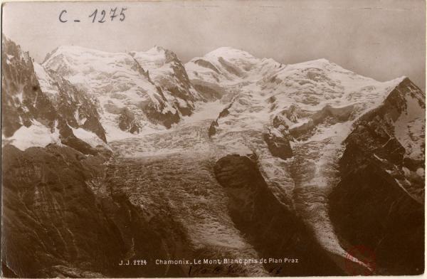 Chamonix : le Mont Blanc pris de Plan Praz
